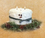 Snowman 3 Wick Cake Candle